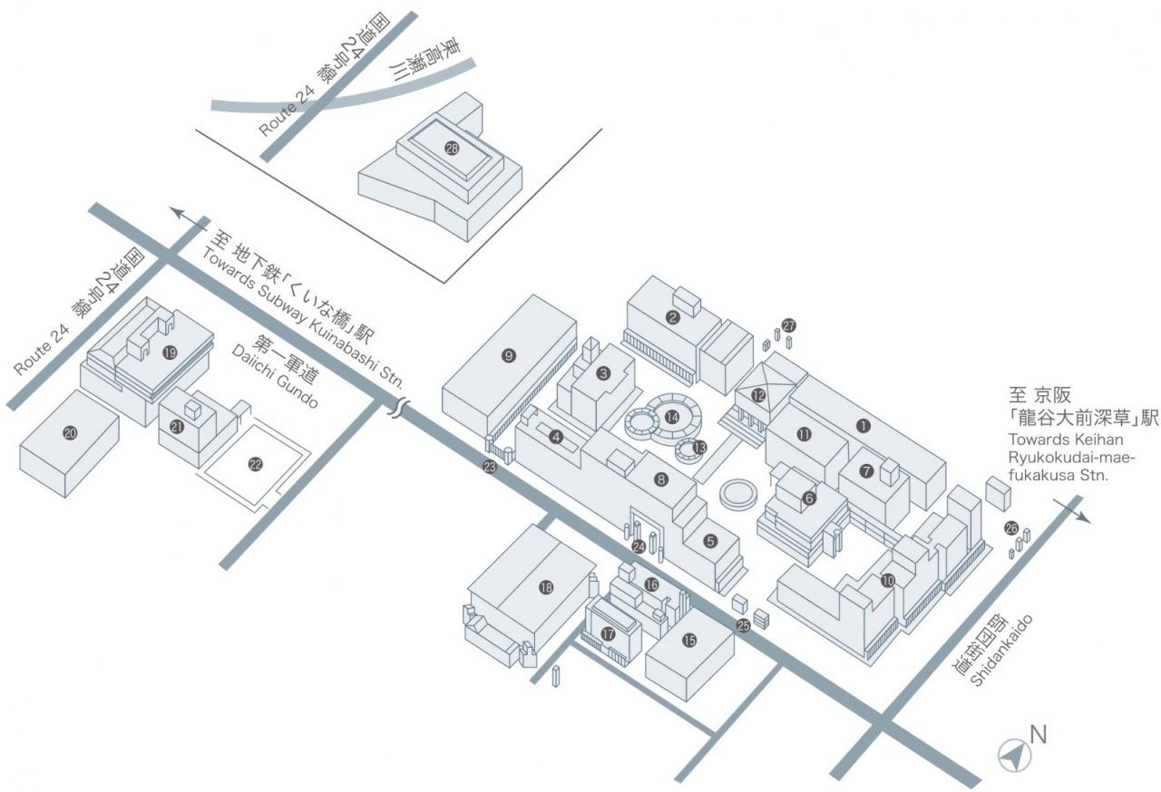龍谷大学 深草キャンパスマップ(会場は19番・紫光館)