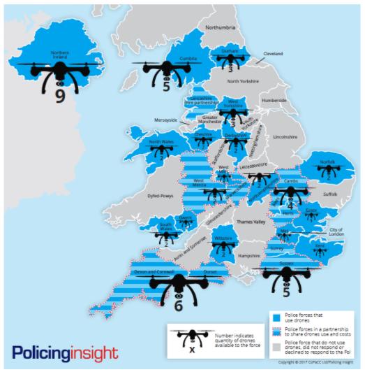 イギリス国内で警察が運用しているドローンの数