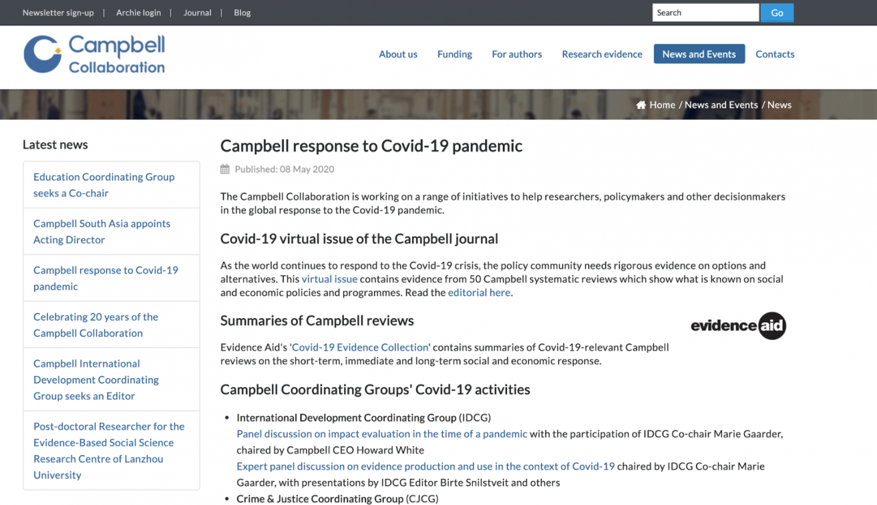 Campbell Collaboration: Campbell response to Covid-19 pandemic